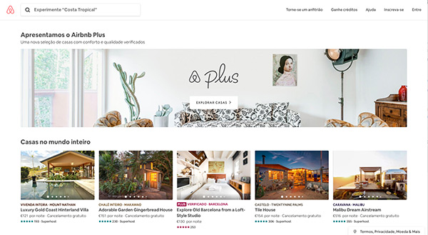 Página inicial do site da Airbnb