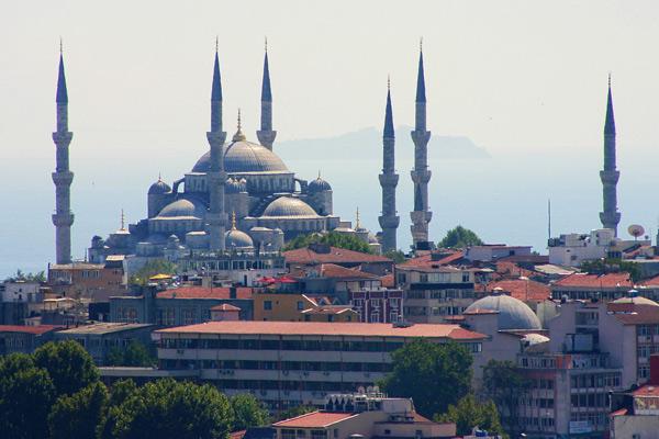 Vista da Mesquita Azul em Istambul